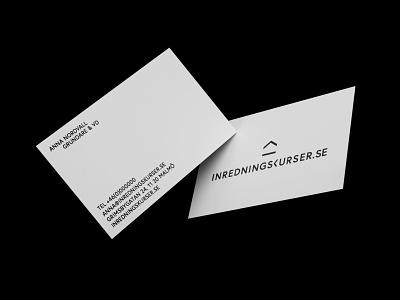 3D mockup of business cards for Inredningskurser blender 3d ux ui web nordic brand identity scandinavian logo branding