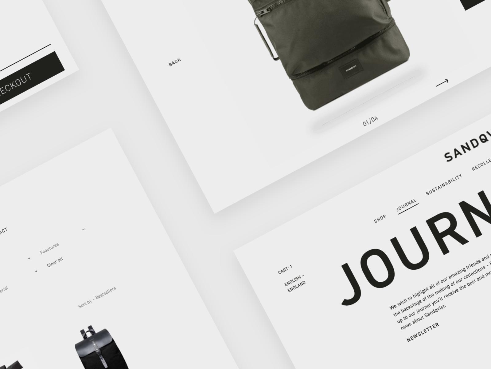 Web Design Concept and Prototype for Sandqvist webshop webflow web ui sweden scandinavian redesign nordic minimalist backpacks