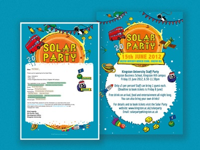 Solar Party E-letter and Poster web design poster party