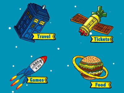 Solar Party Elements  web design poster party