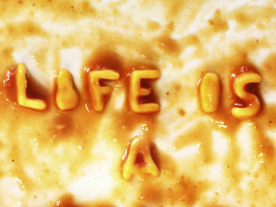life is ... lettering typography font life pasta