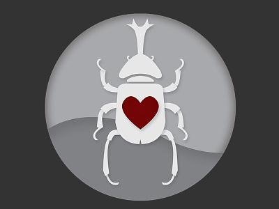 Beetle beetle illustration red bug gray logo icon