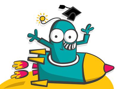 Launchpad  alien school roket space illustration logo icon