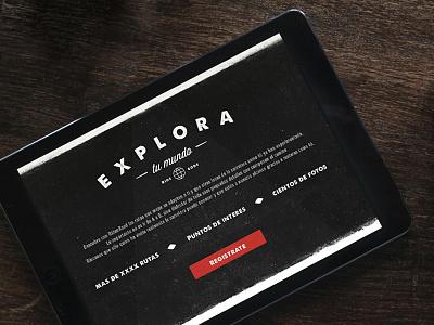 Explore your world explore app web design art direction dark motorbyke