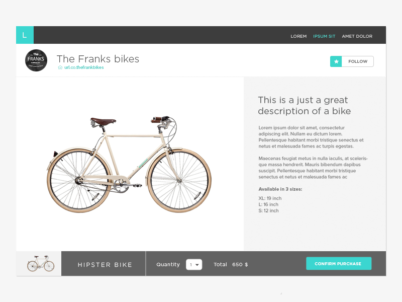 Product e-commerce bike product product page web design