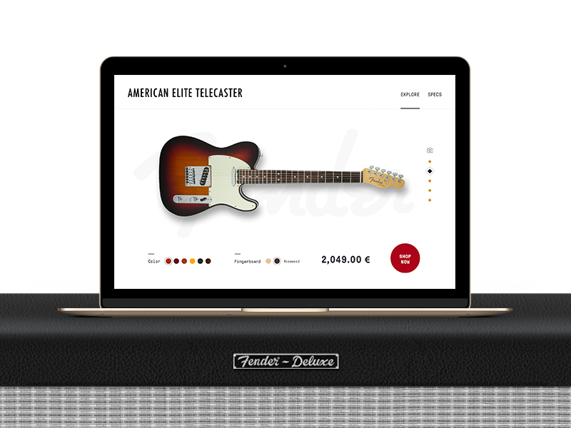 fender telecaster product page concept by paco lara dribbble dribbble. Black Bedroom Furniture Sets. Home Design Ideas