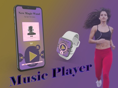 Music Player gold purple abstract watch jogging music 009 dailyui
