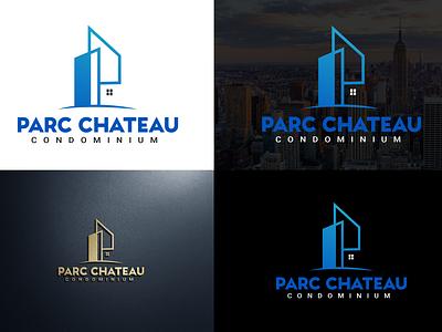 Parc Chateau Logo estate home house construction real estate logo