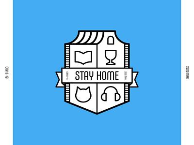 STAY HOME emblem logo illustration