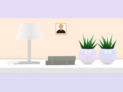 Table with Pots and Night Light books light night cactuses flower pots vector illustration designer creative ui figma design