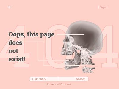 404 Page exist oops skull 404 best practices illustration designer creative ux website ui figma design