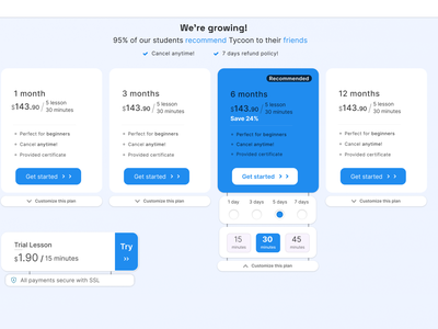 Pricing Page online education plans customize cards typography best practices ux designer creative ui website figma design