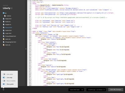 LightCMS Source Editor ui ux animation responsive source code css html editor
