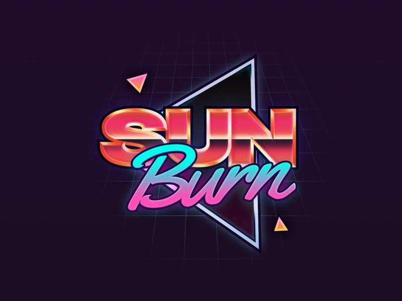Sunburn Branding neon illustration branding vhs miami vice 80s sunburn