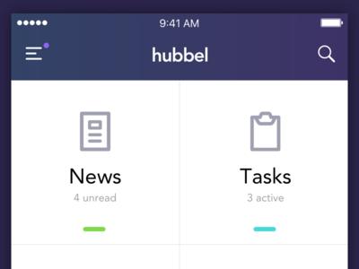 Internal App search menu header ios app tasks news intranet