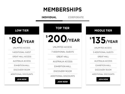 Membership Dribbble tier membership ui