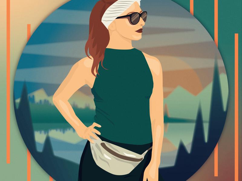 Flat avatar for my festival friend sunset ai vector illustrator green lake design flat fest