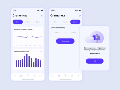 Statistics Screens, Diabetic App Concept