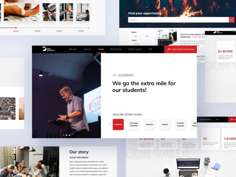 Talents Platform for English School design ui