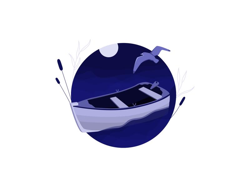 Boat bird moon violet flat illustration ocean boat