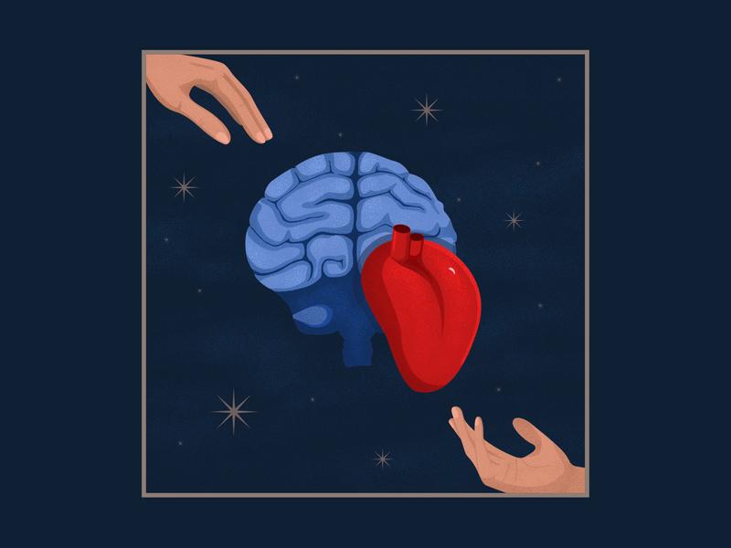 Choise brain heart illustraion mind love choice