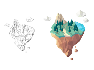 Smarch Island pine evergreen tree nature forest island lowpoly polygonal illustrator animation motion sketch vector isometric lowpolyart low-poly illustration brand design brand branding