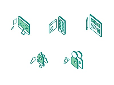 Smarch Icons website forest software 2d service green dribbble art isometry isometric icon web app ux ui design illustration vector brand identity branding
