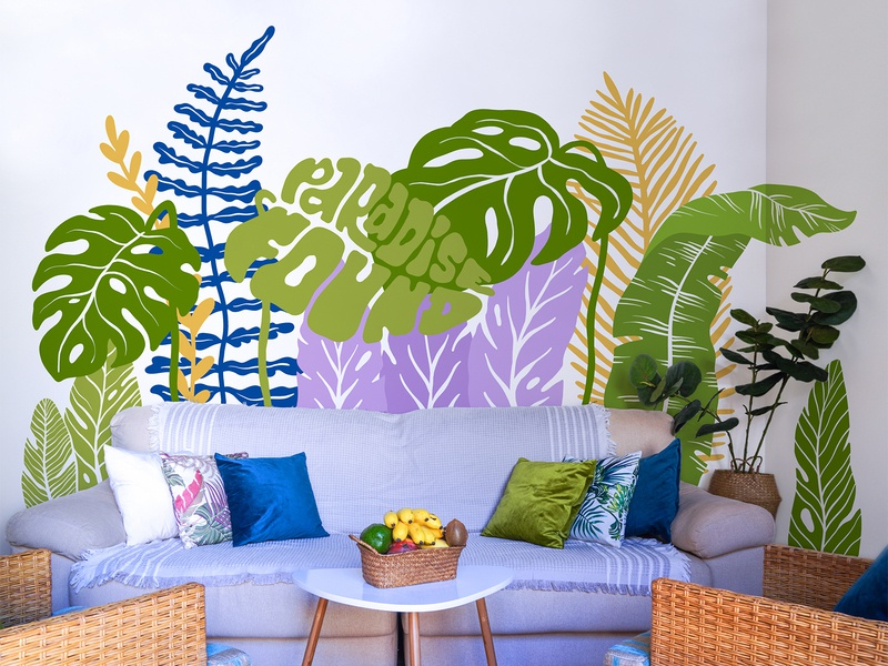 Home Garden homedecor garden leaves illustration paradise dribbble weekly warm-up weeklywarmup weekly challenge dribbbleweeklywarmup lettering typogaphy homemural home tropical leaves tropical muralart mural design muralist mural
