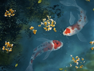 Koi Carp Fishes - Realistic Illustration
