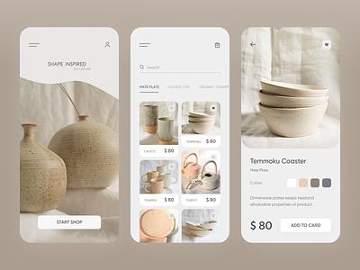 Organic Ceramic shop mobile app ui app design apparel designer typography minimal web app ux ui design