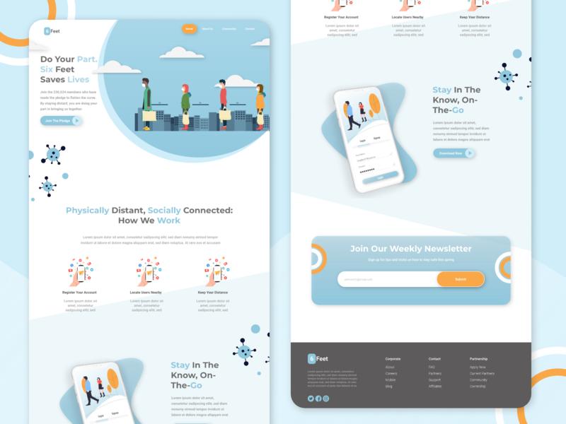 6Feet Social Distance Landing Page colour palette landingpage desktop webdesigner uxdesigner coronavirus covid19 uxdesign uidesign ui design webdesign