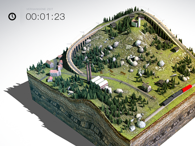 game map 3d game level map rendering texturing miniature train tracks railway station landscape terrain
