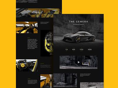 Koenigsegg Gemera website concept Pt. 1 cars interior main page longread sf pro display video ui  ux black and orange dark ui koenigsegg gemera minimalist design car