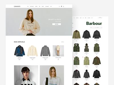 CONCRETE - online clothing store concept. Pt. 1 brand white ui  ux minimalistic clothing store catalog design main page online store