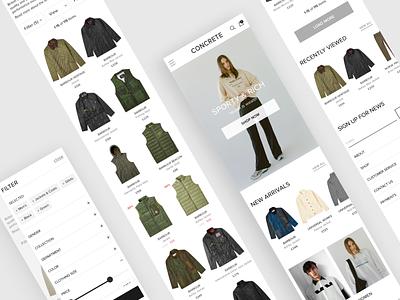 CONCRETE - online clothing store concept. Pt. 2 filter ui catalog mobile casual minimalistic clothing store online store responsive design adaptive design ui  ux