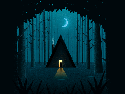 Mysterious Thicket house night moon mysterious thicket forest witch illustration