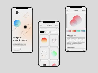 Just Figures Shop store app design minimalistic ui  ux