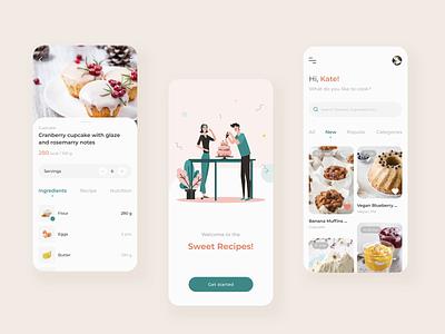 Sweet Recipe App Concept Animation concept recipes cake desserts sweets app animation ui  ux illustration