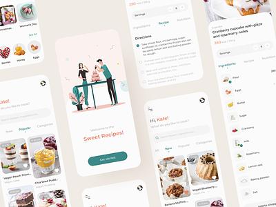 Sweet Recipe App Concept mobile sweets cake dessert recipes app ui  ux illustration