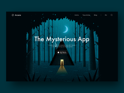 The Mysterious App website witch darkness moon night mysterious thicket forest ui  ux app main page main illustration