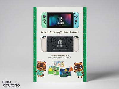 Nintendo Switch Animal Crossing Advertisement Layout Design animalcrossing nintendoswitch nintendo print design marketing campaign marketing layoutdesign layout design branding advertisement design