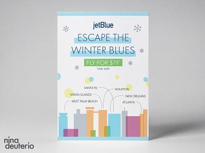 JetBlue Airlines Advertisement Layout Design travel jetblue typography print design marketing campaign marketing layoutdesign design layout branding advertisement design
