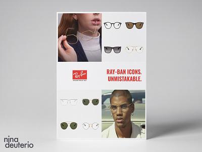 RayBan Sunglasses Eyeglasses Advertisement Layout Design sunglasses eyeglasses eyewear rayban typography print design marketing campaign marketing layoutdesign layout design branding advertisement design