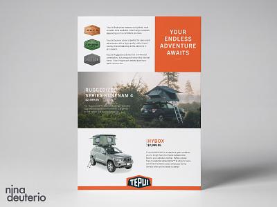 Tepui Tents Advertisement Layout Design camping grid design grid layout typography print design marketing campaign marketing layoutdesign layout design branding advertisement design