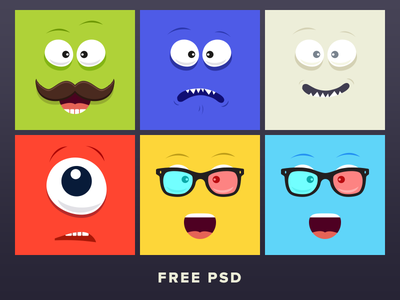 Cartoon Faces happy sad smile mustache eyes illustration cartoon face psd emoticons