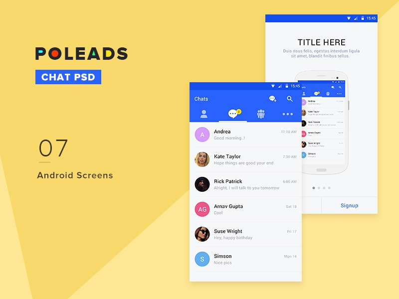 Poleads Chat 2x walkthrogh android template material design chat free psd
