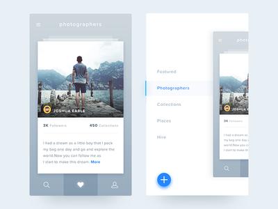 iOS Photography  - Freebie cards add side menu travel minimal app ios