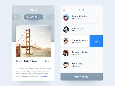 iOS Kit - Freebie travel destination profiles details minimal select list freebie psd app places
