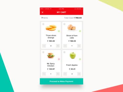 My Cart shops restaurant vegetables list grocery items ios minimal iphone shopping cart