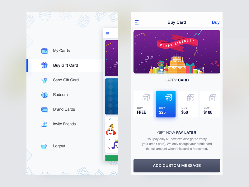 Gift Card payment app side nav gifting app ios minimal